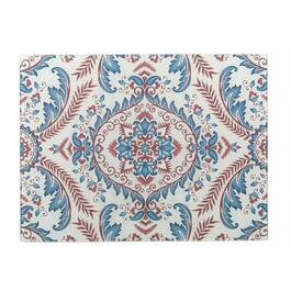 "12""x15"" Red/White/Blue Damask Glass Cutting Boards, Set of 2"