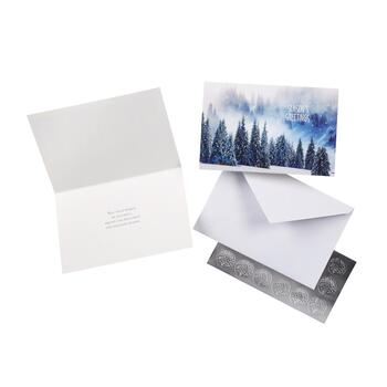 """Season's Greetings"" Glittery Trees Cards with Seals, 36-Count"