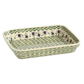 Polish Pottery Green Basketweave Handmade Baking Dish