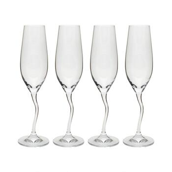 6-oz. European Zigzag Stem Champagne Flute Glasses, Set of 4