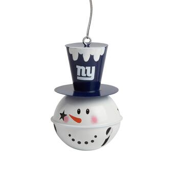 New York Giants Tophat Snowman Jingle Bell Ornament