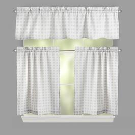 Traditions by Waverly® Silver Crisscross Window Tier & Valance Set