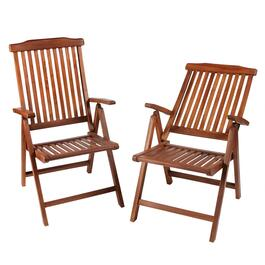 Torino Teak Wood Folding Patio Chairs, Set of 2