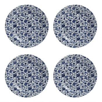 "10"" Blue/White Floral Ceramic Dinner Plates, Set of 4"