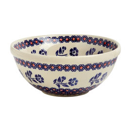 Polish Pottery Blue/Orange Floral Handmade Mixing Bowl view 1
