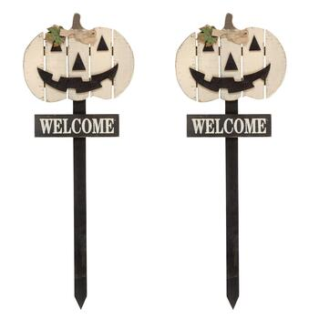 "36"" ""Welcome"" Wood Jack-O-Lantern Yard Stakes, Set of 2"