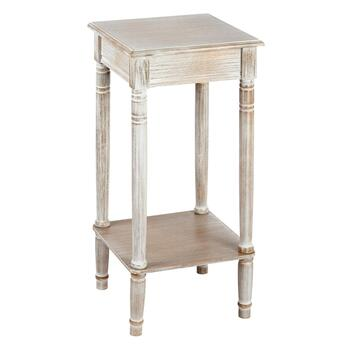 White Antique Square Accent Table