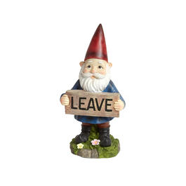 "14"" ""Leave"" Sign Garden Gnome view 1"