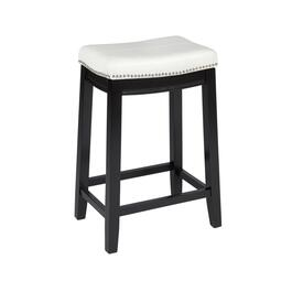 "26"" White Claridge Upholstered Barstool with Nailheads"
