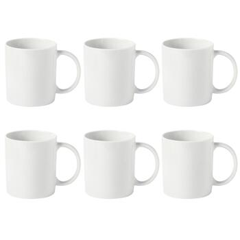 White Shaped Ceramic Mugs Set, 6-Piece