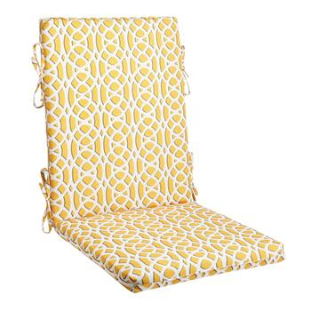 Vera® Yellow Geometric Indoor/Outdoor Hinged Chair Pad