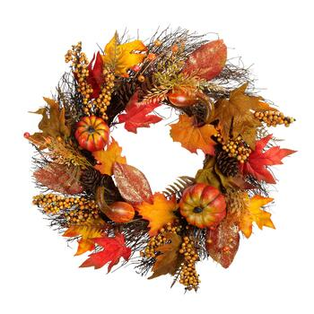 "22"" Glittered Leaf and Gourd Wreath"