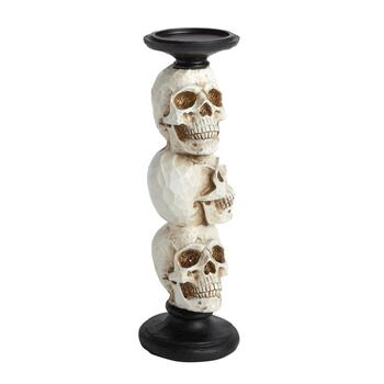 "14"" Skeleton Skulls Halloween Pillar Candle Holder"
