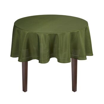 Solid Dark Green Hemstitch Microfiber Tablecloth view 2