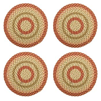 Round Braided Circles Woven Placemats, Set of 4