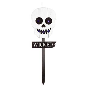 "35.75"" LED Eyes Slatted Wood Skull Garden Stake"