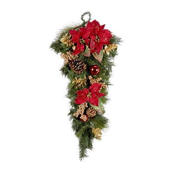 Poinsettia Teardrop Holiday Hanging Decor