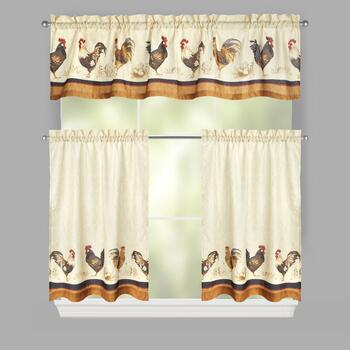 Rooster and Eggs Window Tier & Valance Set