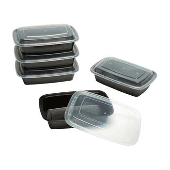 Black 24-oz. Rectangular Plastic Containers, Set of 15