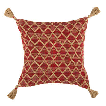 Red/Tan Diamond Indoor/Outdoor Square Throw Pillow with Tassels view 1