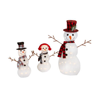 Lighted Tinsel Snowman Family, 3-Piece