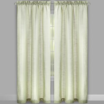 Perfect Window Green Hemstitch Window Curtains, Set of 2 view 2