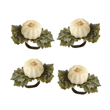 Ivory Pumpkin Napkin Rings, Set of 4