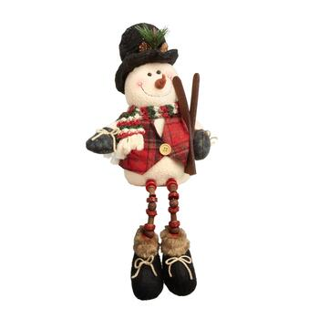 "16"" Skier Snowman Sitter with Dangling Wood Legs"