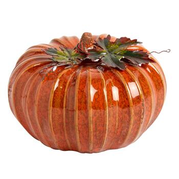 "6"" Glazed Ceramic Pumpkin"