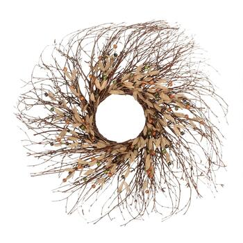 "29"" Burlap Leaf Spiral Twig Wreath"