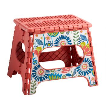 Pink Flowers Folding Step Stool