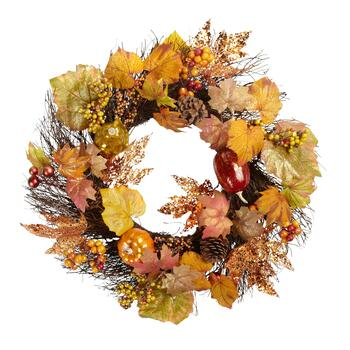 "22"" Glittered Leaf Pumpkin Wreath"