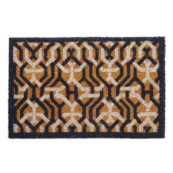 Navy/White Interlock Coir Door Mat