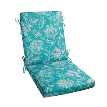Turquoise Floral Jacquard Hinged Chair Pad view 1