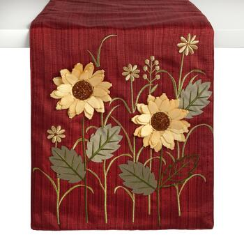 "72"" Red Harvest Flower Embellished Table Runner"