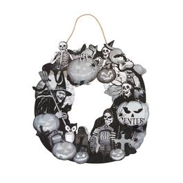 "19.5""x25"" Black Retro Halloween Icons Wreath"