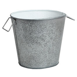 Galvanized Metal Bucket with White Interior view 1
