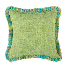 Waverly® Green/Blue Fringe Indoor/Outdoor Square Throw Pillow view 1