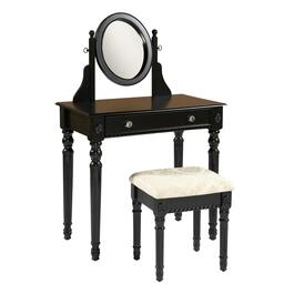 Black Loraine Vanity with Upholstered Stool