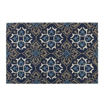 "4'5"" x 6'11"" Blue Medallion Hooked All-Weather Area Rug"