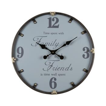 "24"" ""Family and Friends"" Metal Frame Round Wall Clock"