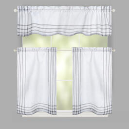 Gray Plaid Window Tier & Valance Set view 1