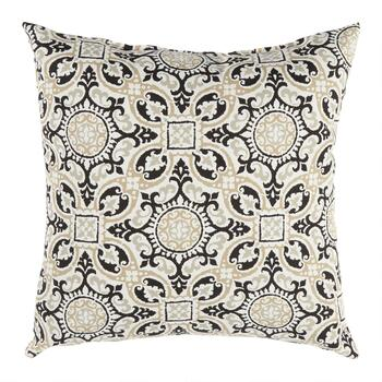 Black Medallion Indoor/Outdoor Square Throw Pillow