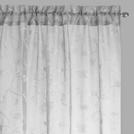 "84"" Leaf Embroidered Rod Pocket Window Curtains, Set of 2"