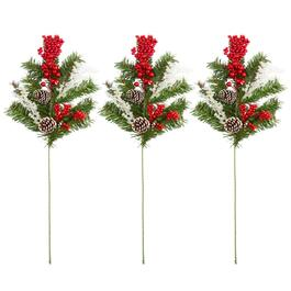 "15"" Pinecone and Berry Stakes, Set of 3"