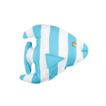 Light Blue Striped Fish Throw Pillow