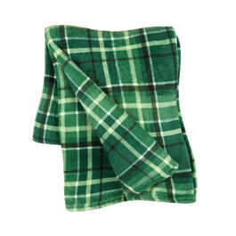 Dark Green Plaid Throw view 1