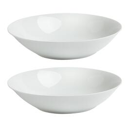White Ceramic Round Serving Bowls, Set of 2