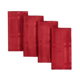Solid Red Checkered Microfiber Napkins, Set of 4