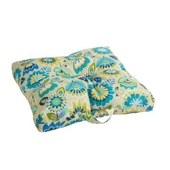 Yellow/Blue Floral Indoor/Outdoor Square Pool Pad